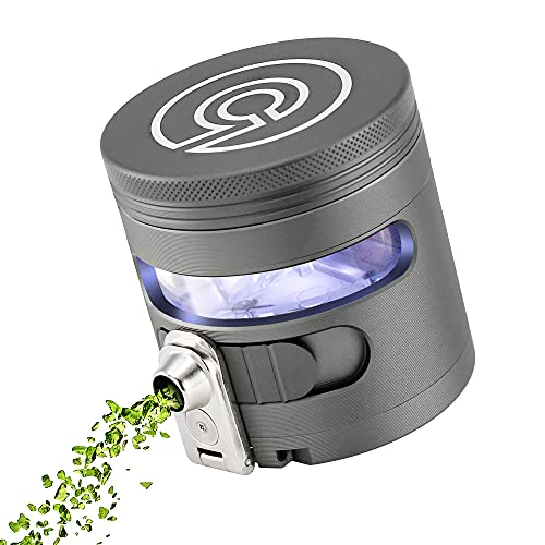 """Tectonic9 Herb Grinder Automatic Electric Herbal Spice Dispenser Large 2.5"""" Aluminum Alloy (Grey)"""