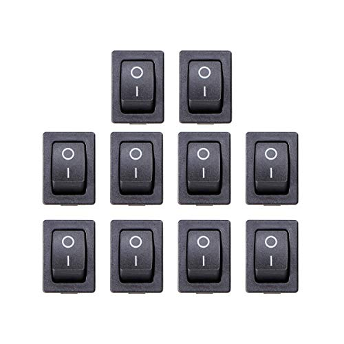 OUNONA 10 pcs 2Pin Interrupteur à Bascule on/Off Mini Bateau Interrupteur à Bascule Voiture Auto Bateau Rond Rocker Snap