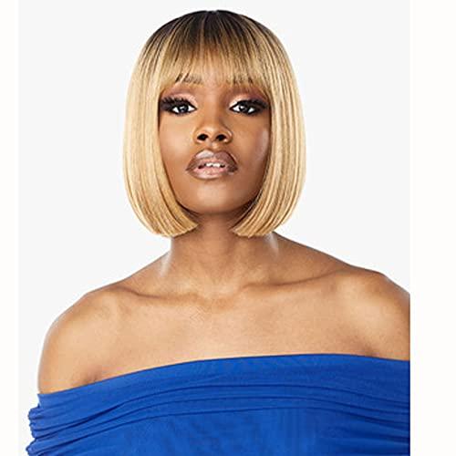 Ombre blond humana hår peruker bob mellersta del 150% densitet glödlös silkeslen rak för kvinnor brasilianska håret för plockade med baby hår, mänskligt hår för svarta kvinnor silkeslen