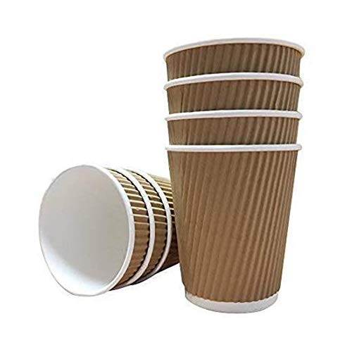 We Can Source It Ltd - 8oz Disposable Kraft Ripple Paper Cups - Insulated Brown Paper Cups with 3 Ply Construction - 100% Biodegradable Compostable Recyclable - For Tea, Coffee, Hot Drinks - 500Pc