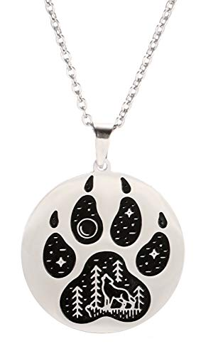 VASSAGO Stainless Steel Norse Viking Wolf Paw Print Pendant Necklace Engraved Moon Star Wolf Forest Black Plated Round Charm Necklaces for Men Women Teens (silver)