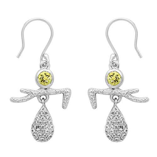 Pendiente de gota colgante de bailarina de plata esterlina 925 con piedras preciosas de forma redonda de opción múltiple (Cuarzo limón)