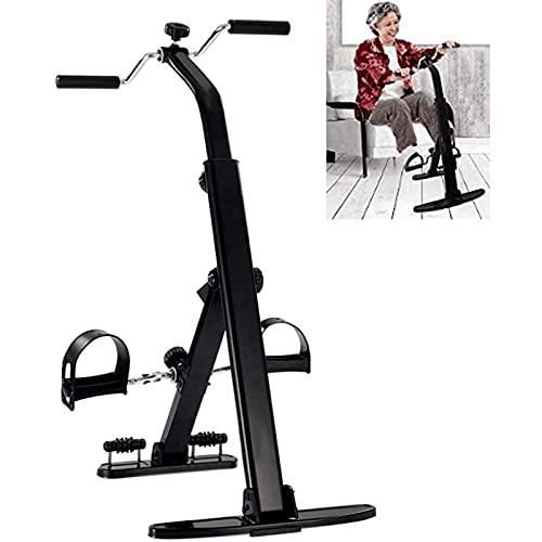 WYLX Mini Bicicleta Estática Pedal Interior Bicicleta Ciclismo Entrenador de Pedal de piernas con Doble Manivela Ajustable decuada para Ejercitar Pies y Brazos