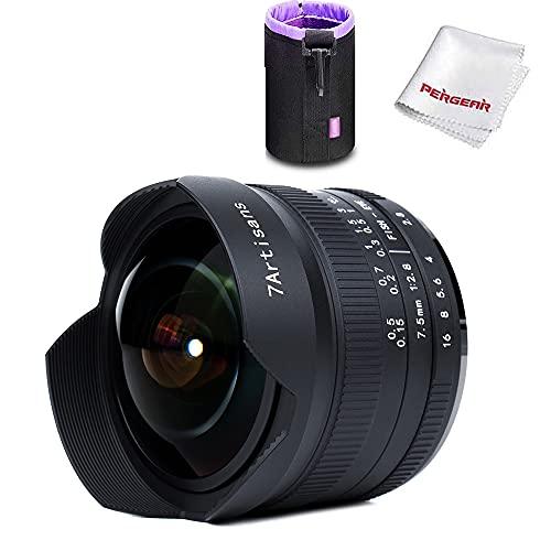 7artisans 7,5mm f2.8 Fisheye Fixed Objektiv für Olympus Micro Four Thirds MFT m4/3 Kameras