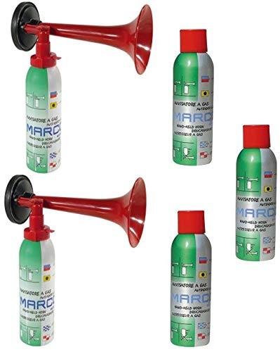 Marco 2 Druckluftfanfaren 3 Nachfüllflaschen-kein billiges China Produkt-Hupe Fanfare Tröte Drucklufthupe EU Gesetz komform sehr Umweltfreundlich