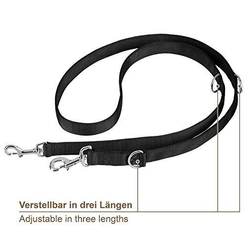 VITAZOO Premium Hundeleine in Graphitschwarz, massiv und verstellbar in 4 Längen (1,1 m – 2,1 m), für große und kräftige Hunde | 2 Jahre Zufriedenheitsgarantie | Hundeführleine, Doppelleine, geflochten - 3