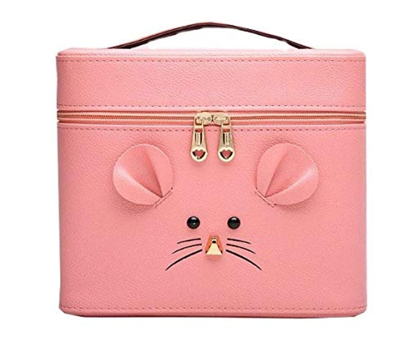 フィールド結婚したモック化粧箱、ピンクの漫画のマウスの化粧箱、携帯用旅行化粧品の箱、美の釘の宝石類の収納箱 (Size : L)