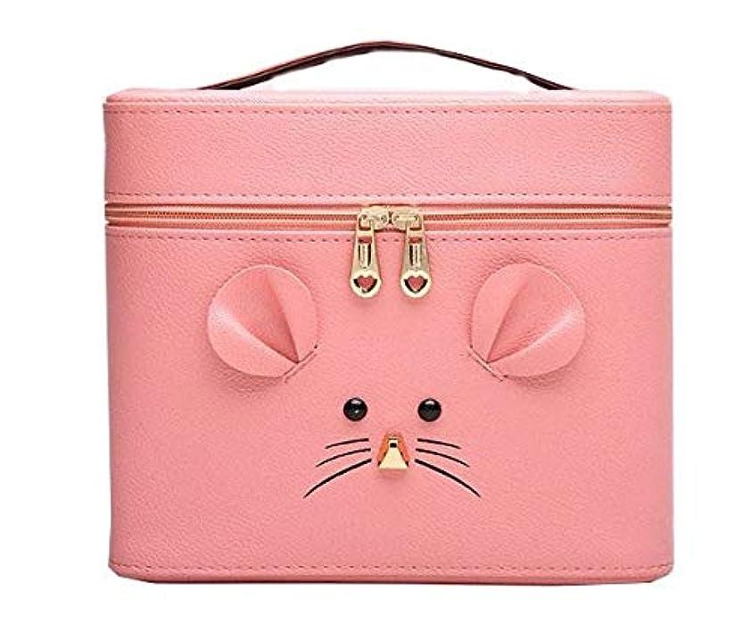 空の不愉快操る化粧箱、ピンクの漫画のマウスの化粧箱、携帯用旅行化粧品の箱、美の釘の宝石類の収納箱 (Size : L)