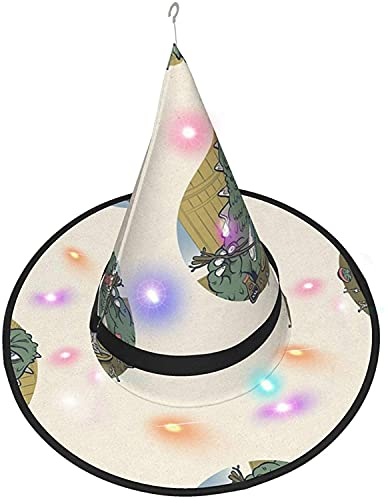 KINGAM Sombrero de bruja Eat Enorme Sushi LED Luminoso Cap Bruja Sombrero Cadena Luces Halloween Decoración para patio al aire libre Interior Árbol Negro