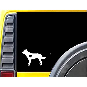 "Australian Kelpie *J677* Decal 8"" wide dog Sticker little heart 16"