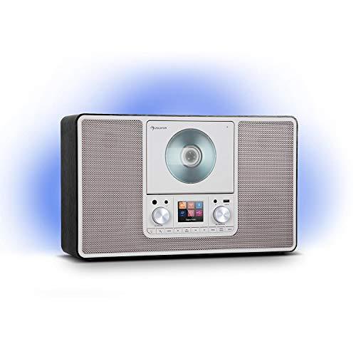 auna Scala VCD - Digital-Radio, CD-Player, DAB/DAB+/UKW Radio, 2 x 10 Watt RMS Lautsprecher, LED-Ambient-Backlight in 7 Farben, Vertikal: Wandinstallation oder Tischgerät, Mediaplayer, schwarz