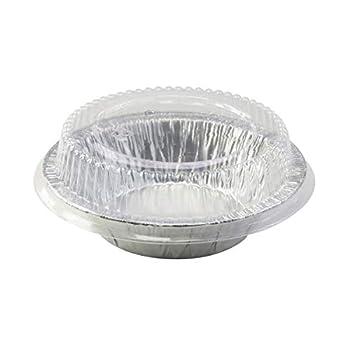 Safca Disposable Aluminum 5  Tart Pan/Individual Pot Pie Pan w/Clear Dome Lid #501P  25