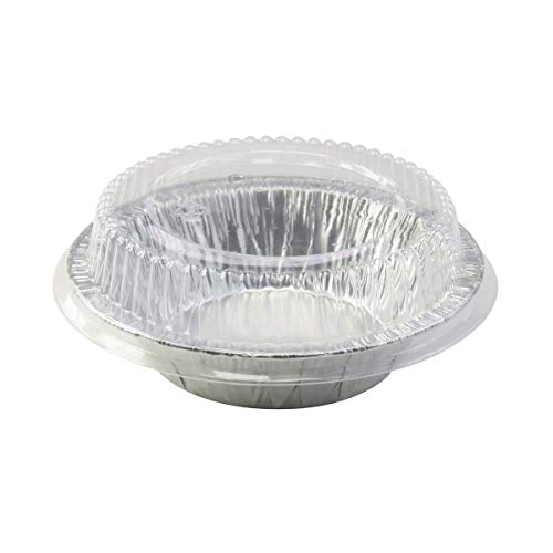 Safca Disposable Aluminum 5' Tart Pan/Individual Pot Pie Pan w/Clear Dome Lid #501P (25)