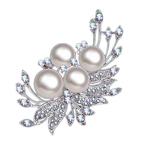 Hosaire 1x Damen Brosche Mode Narzisse Blütenform mit Weißer Perle Design Frau Hemd Broschen Mantel Deko Brosche Schmuck Zubehör Brooch