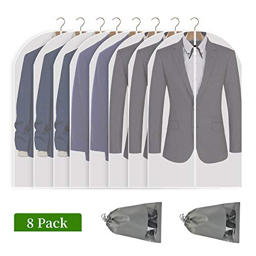 Perber Hanging Garment Bag 8 Pack Clear Full Zipper Suit Bags (Set of 8) PEVA Moth-Proof Breathable Dust Cover for Closet Clothes Storage, Travel 24'' x 40''