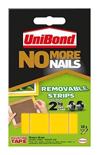 Unibond 781739 No More Nails plakstrips ultra sterk verwijderbaar doorschijnend 10 stuks