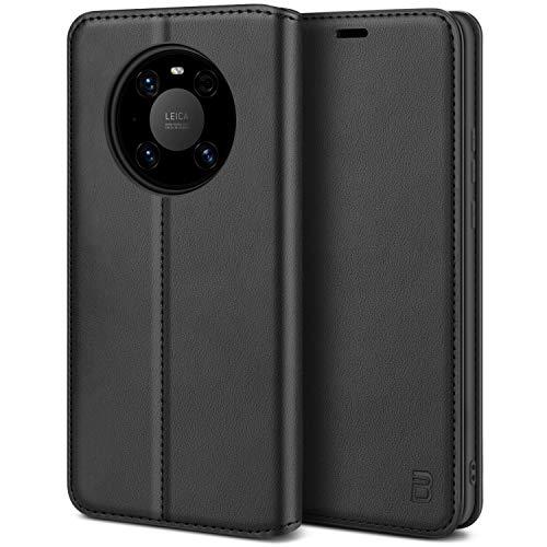 BEZ Handyhülle für Huawei Mate 40 Pro Hülle, Premium Tasche Kompatibel für Huawei Mate 40 Pro, Tasche Hülle Schutzhüllen aus Klappetui mit Kreditkartenhaltern, Ständer, Magnetverschluss, Schwarz