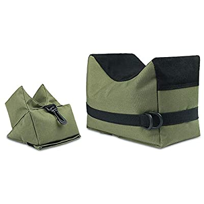 Twod Outdoor Shooting Rest Bags Rest Front & Rear Support SandBag Stand Holders with 900 Denier Polyester Durable Construction and Water Resistance for Rifle Hunting- Unfilled-Army Green