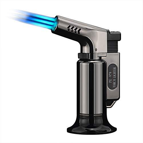 Liamostee BBQ Zigarre Butan Taschenlampe Anzünder Nachfüllbar Verstellbar Flame mit Sicherheit Schloss für Backen Küche
