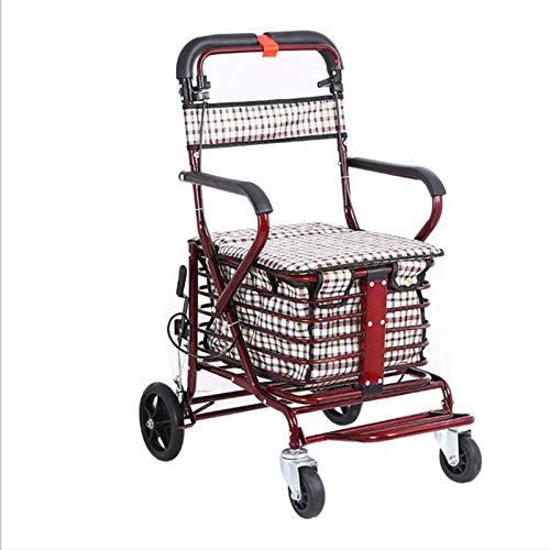 WPW Einkaufswagen mit Bremse Tragbarer Lebensmittel-Einkaufswagen mit Klapppedalen Gepolsterte Sitzlehne Gehmobilitätshilfe für Die Älteren (Größe : E1)