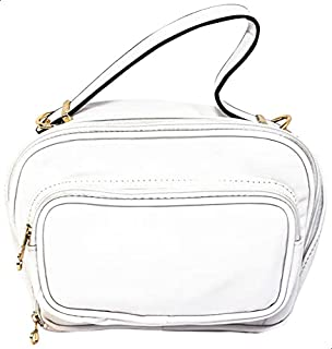 Glitter Faux-Leather Zip-up Top Handle Bag with Detachable Strap for Women - White