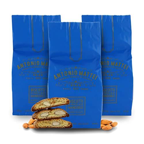 Biscotti di Prato alle Mandorle, Cantucci Classici alle Mandorle e Pinoli, Sacchetto 125g (Confezione da 3 Pezzi)