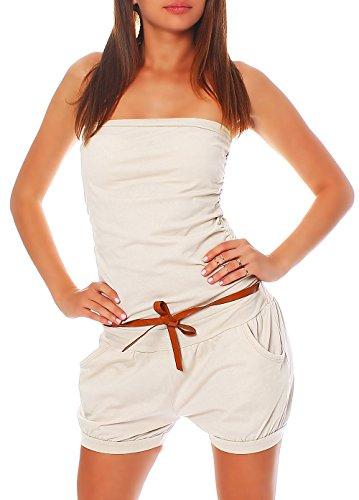 Malito Damen Einteiler kurz in Unifarben | Overall mit Gürtel | schicker Jumpsuit | Romper - Playsuit - Hosenanzug 8964 (beige)