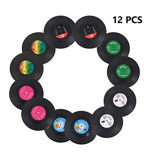 Schallplatten-Untersetzer für Getränke mit Geschenk-Box, bunte Retro-Vinyl-Untersetzer mit lustigen Etiketten, verhindern, dass Möbel schmutzig und zerkratzt werden, Silikon, schwarz 2, 10.5cm