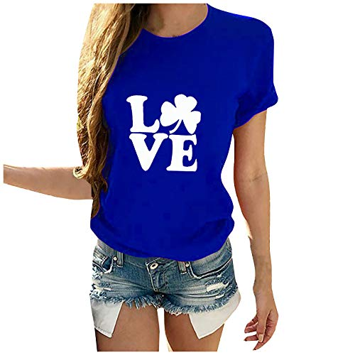 Dicomi Women Casual T-Shirt St. Patrick's Day Printed Cotton Short Sleeve Crewneck Tees Tops Blue