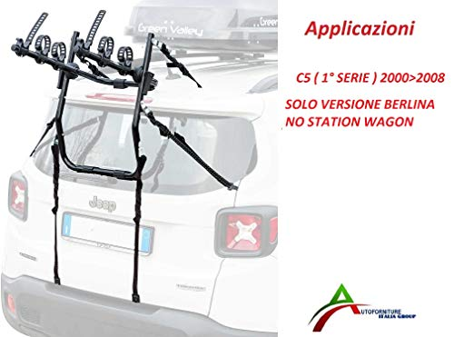 Portabicicletas ensamblado y listo para usar (3 bicicletas) para portón o maletero trasero para coche específico para C5 Berlina 1° Serie E 2° Serie 2000  2017 (no Station Wagon)