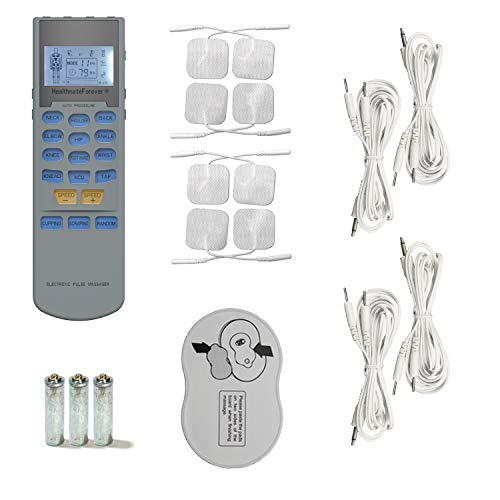 HealthmateForever YK15AB TENS unit EMS Muscle Stimulator 4 outputs 15 modes Handheld Electrotherapy device | Electronic Pulse Massager for Electrotherapy Pain Management Pain Relief Therapy: Chosen by Sufferers of Tennis Elbow, Carpal Tunnel Syndrome, Arthritis, Bursitis, Tendonitis, Plantar Fasciitis, Sciatica, Neck Back Pain, Shin Splints, Hamstrings and other Inflammation Ailments Patent No. USD723178S