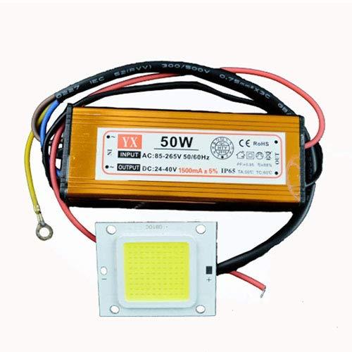 GLW 50W LED Alimentatore Driver +50W Chip LED, Bianco Freddo, Impermeabile, 3750LM Alta Potenza DIY