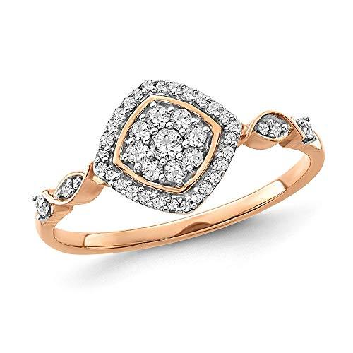 Diamond2Deal Mujer Hombre Unisex 417 Gold oro blanco de 10 quilates redonda IJ Diamond