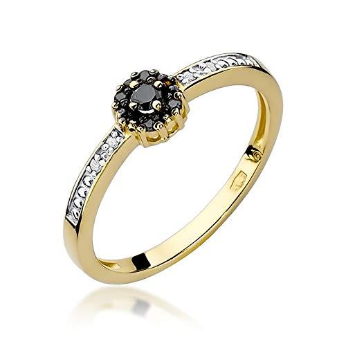 Anillo de mujer Zlocisto elaborado en oro diamante negro con 0,04ct en el centro 0,02ct diamantes negros y 0,03ct blancos talla brillante Muestrade585