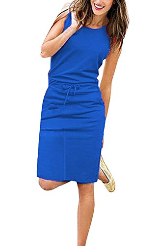 Yieune Sommerkleider Damen Abendkleid Ärmelloses Einfarbig Kleid Casual Strandkleid Langes...