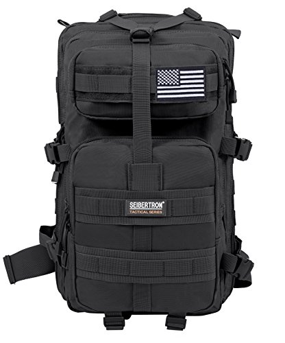 Seibertron Falcon Taktischer Militärischer Rucksack Kompakt Angriff für Wandern Reisen Trekking Tasche Tactical Bag Assault Backpack Military Camping Pack Outdoor Daypacks (Black 37L)