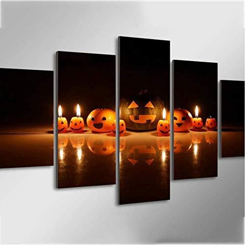 Daapplok Dekoration Leinwand Bild Kunst Malerei Rahmen Wohnkultur 5 Stücke Kürbis Smiley Ausdruck Kerze Hd Gedruckt Wandbilder Poster