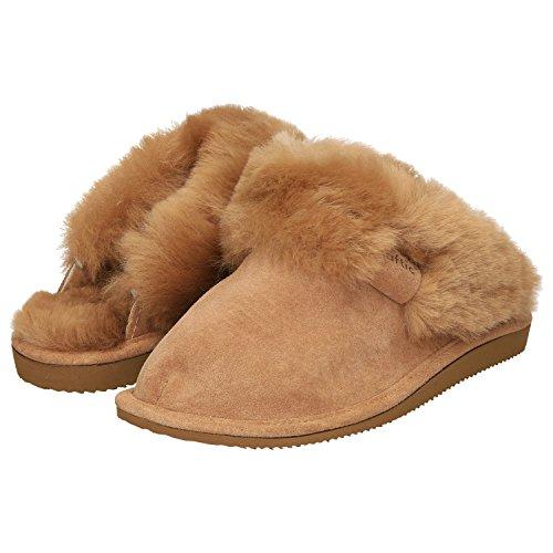 Haftic Damen Hausschuhe Leder Lammfell Warm Winter Gefüttert Geschlossen Atmungsaktiv Weiche Sohle Handgemacht Schafswolle Schlappen Pantoffeln Schuhe (37, Beige)