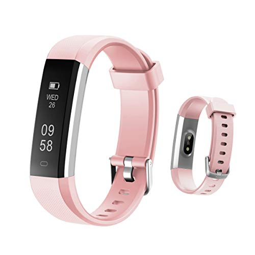 HOTSO Reloj Inteligente, Cómodo Smartwatch Pulsera Deportiva con Pantalla Táctil para Diferente Muñecas Correa Longitud Ajustable IP67 Sumergible - Rosa