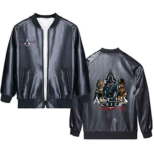 Assassin's Creed Pullover Cartoon Patterned Mode Printing Lederjacke mit Reißverschluss Cardigan Plus Samt Mantel der Kinder Junge und Mädchen (Color : A15, Size : Height-120cm(Tag 120))