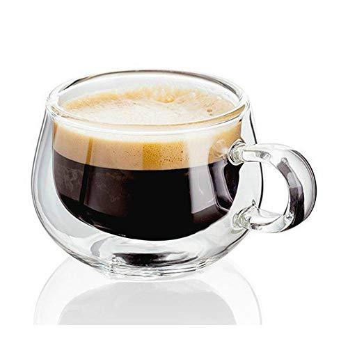 Taza de cristal de doble pared, resistente al calor, taza de té y café con asa, portátil, transparente, taza de cerveza, vaso de whisky, 150 ml (80 ml6)
