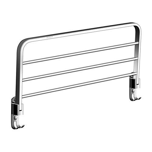 DEWQ Handtuchhalter Bad, Einlagig 304 Edelstahl Wandhalterung 90 ° Klappbare Badetuchhalter mit Haken, Ablagefach mit 3 Handtuchstangen 80CM