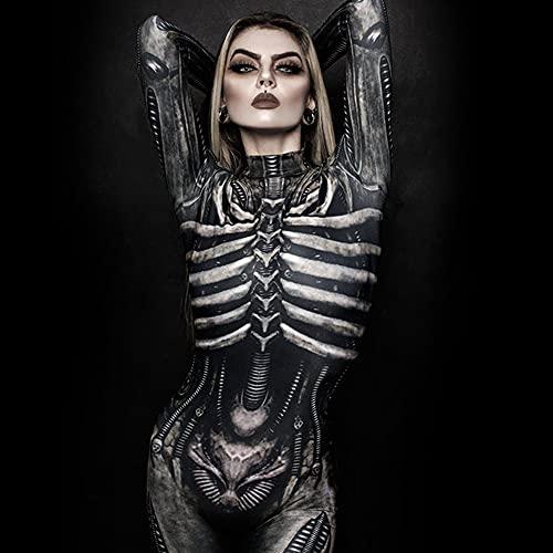 TMOYJPX 3D Disfraz Halloween Mujer Niña Gracioso Terror Esqueleto Mascarada - Cosplay Ropa Mono Disfraces Mujer Despedida Soltero Adultos Sexy Fiesta Ceremonia (C~Negro, M)
