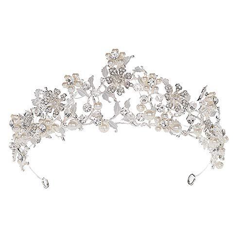 XQK Alloy Crystal Crown, Gold Silber Hochzeit Tiara Verstellbare Breite Kronen mit Strass und Perle für Frauen und Mädchen (Silber)