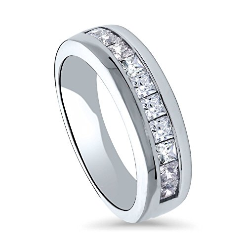 BERRICLE Rhodium Plated Sterling Silver Channel Set Princess Cut Cubic Zirconia CZ Anniversary Wedding Half Eternity Band Ring Size 10