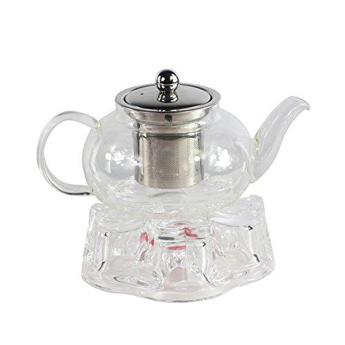 Tetera de cristal transparente infusor de acero inoxidable Set con velas calentador