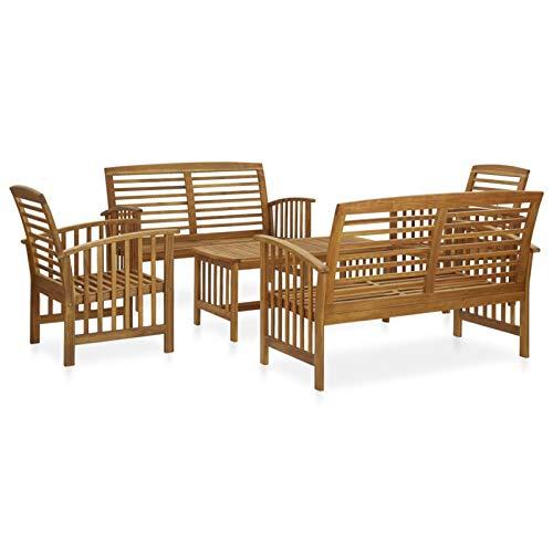 Tidyard Conjuntos de Muebles de jardín Juego de Muebles de jardín 5 Piezas Madera de Acacia Maciza