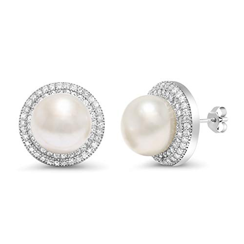 Gem Stone King 925 Sterling Silver 9MM Cultured Freshwater Pearl Button Stud Earrings