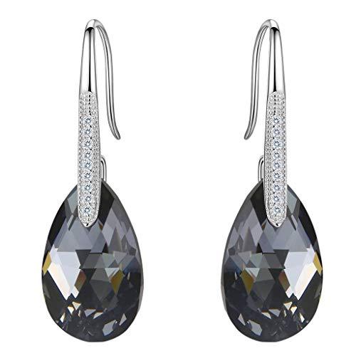 Clearine Pendiente de Mujer Plata 925 Aretes con Cristales Lágrima para Regalo Boda Nupcial Negro