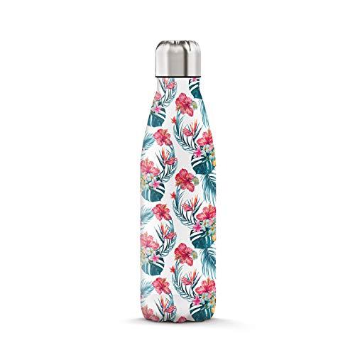 The Steel Bottle Bouteille isotherme en acier inoxydable, avec isolation sous vide à double paroi, capacité de 500ml, fermeture hermétique, portable, Art#6 Exotic Flowers